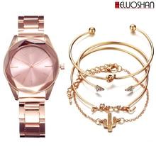 купить 5pc/set Luxury Brand Wristwatches Women Stainless Steel Band Dress Watches Ladies Quartz Watch Relogio Feminino Bracelet Reloj дешево