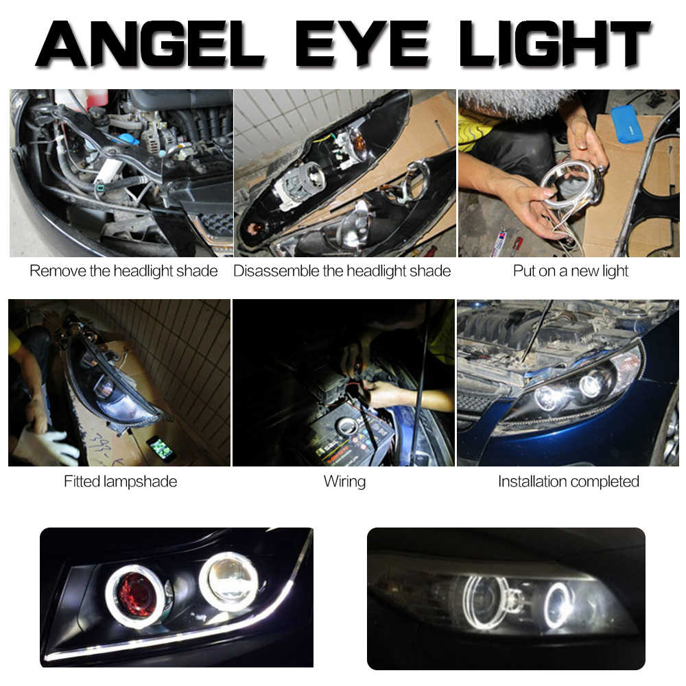 COB Car Angel Eyes Led Halo Ring Bulb Lights SHEELL Angel Eyes Fog Headlight Car Auto Moto Moped Scooter Motorcycle DC 12V