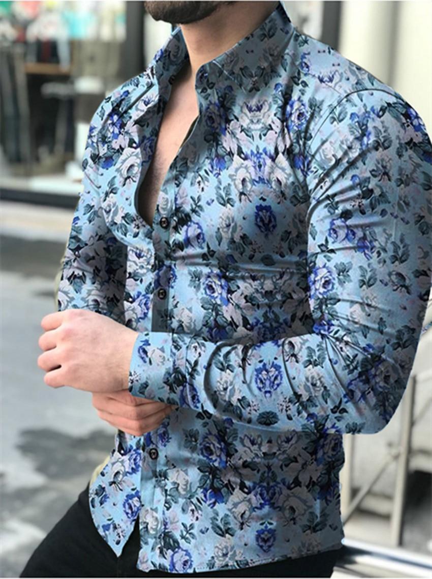 Casual Men Shirt Long Sleeve Europe Style Slim Fit Shirt Men Cotton Floral Shirt Hawaii Button Shirt Top Blouse Male Top M-5XL