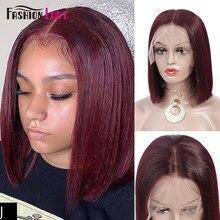 Pelucas de cabello humano corto brasileño a la moda, con encaje rojo 99j en la parte delantera, peluca de cabello humano Remy precoloreado
