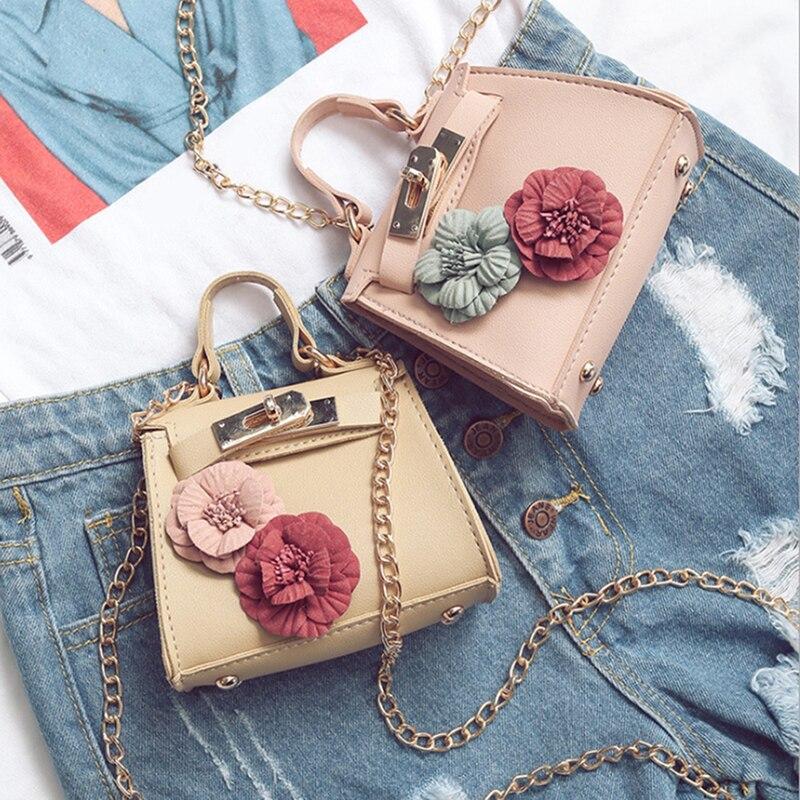 Chain Women Crossbody-Bags Floral Handbag Messenger Small Mini Coin-Wallet