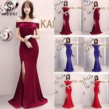 Skyyue Evening Dress One Shoulder Robe De Soiree Sleeveless Zipper Women Party Dresses 2019 Hollow Split Formal Gowns C081-DS3