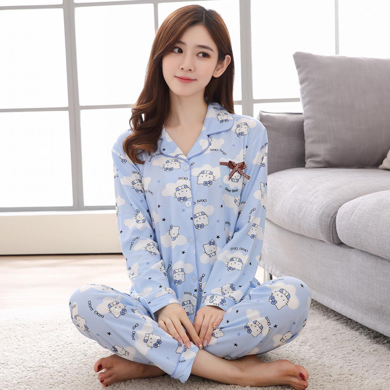 Cartoon Cardigan Pajamas WOMEN'S Long Sleeve Fold-down Collar Cute Kitty Multi--Household Trousers Leisure Suit Tracksuit