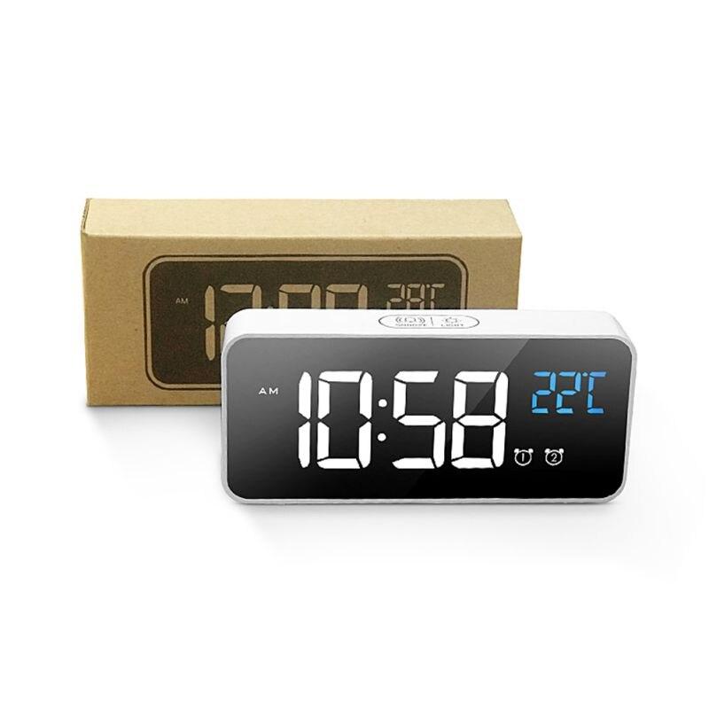 Réveil USB LED durables réveils numériques contrôle vocal Intelligent affichage de la température horloges électroniques décoration de la maison - 3