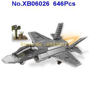 Image 1 - 646 шт., Детский конструктор «Военные истребители f35»