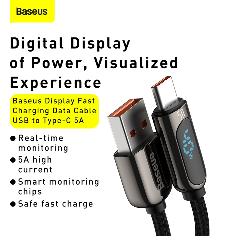 Baseus LED Display USB Type C Cable For Xiaomi 10 Huawei Samsung 5A Fast Charging Charger