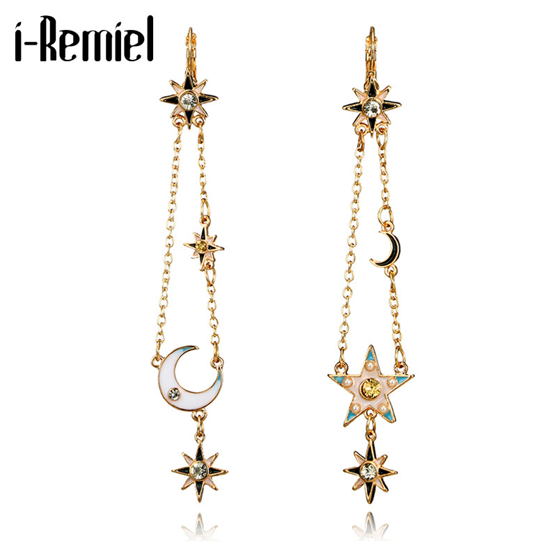 i-Remiel New Jewelry Retro Pentagram Moon Tassel Dangle Earring Geometric Alloy Five-pointed Star Galaxy Drop Earrings for Women