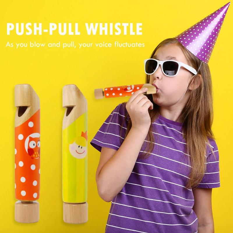 1Pc Funny Push-pull Whistle Flute Piccolo Wooden Educational Toy Musical Instruments For Children Kids Cute Gifts Random