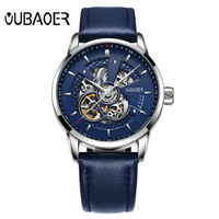 Automatic Analog Watch Leather Belt MEN'S Watch Men Hollow out Back through Watch Sports Watch