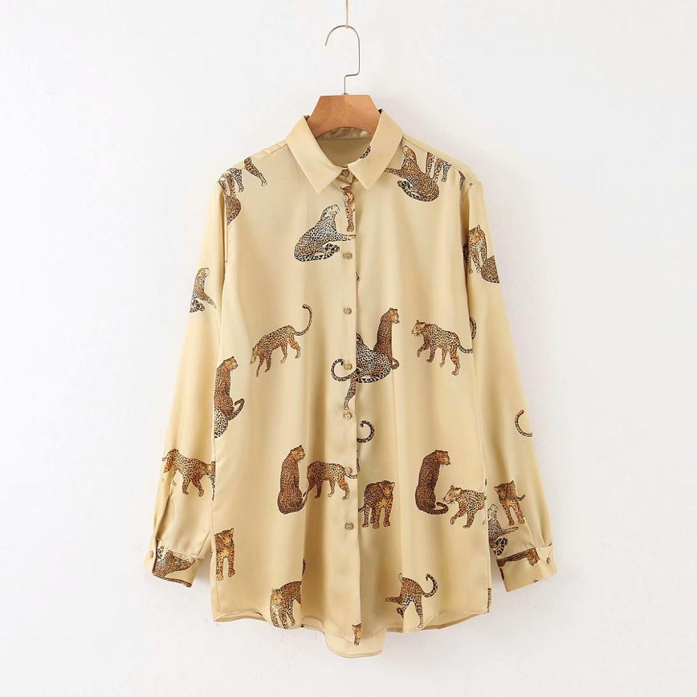 New 2020 Women Animal Patter Print Casual Business Blouse Shirts Office Lady Chic Leopard Chemise Blusas Femininas Tops LS6076