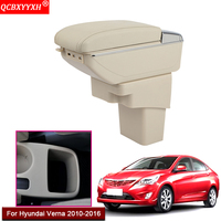 Car Styling ABS With PU Leather Car Armrest Box Center Console Storage Box Holder Case Accessories For Hyundai Verna 2010 2016|Armrests| |  -