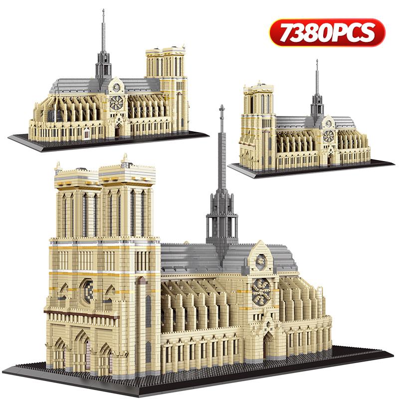 7380pcs+ Diamond Mini Notre Dame DE Paris Model Building Blocks Church Architecture Tibet Potala Palace bricks Toys For Children