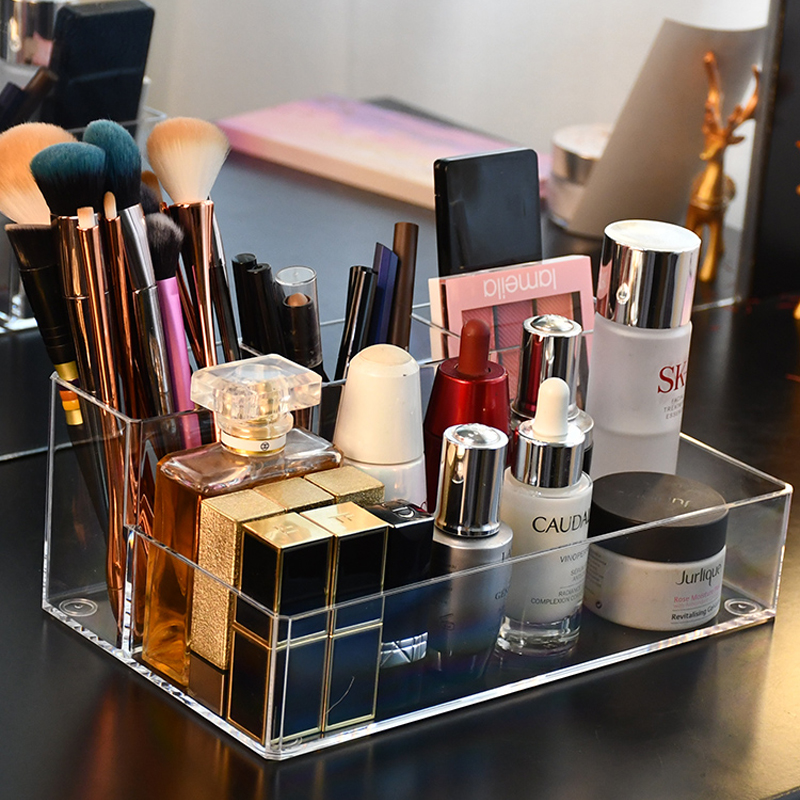 Plastic Makeup Organizer Bathroom Storage Box Cosmetic Organiser Desktop Make Up Jewelry Storage Box Sundries Container Boxes