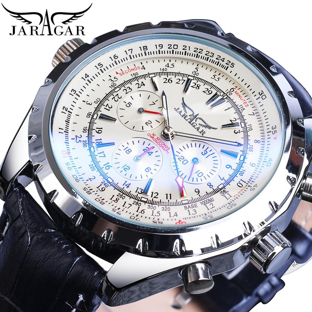 Jaragar Aviator Series Three Dial Display Luxury Luminours Hands Leather Mens Mechanical Automatic Wrist Watch Top Brand Luxury