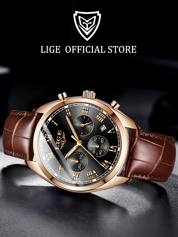 LIGE Mens Watches Clock Quartz Male Sport Waterproof Top-Brand 24-Hour Luxury Relogio