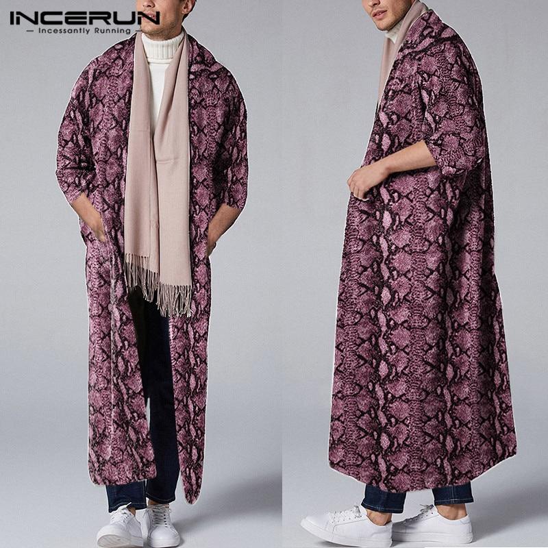 Fashion Men Outerwear Leopard Print 2020 3/4 Sleeve Open Stitch Streetwear Men Long Trench Coats Casual Cloaks INCERUN Plus Size