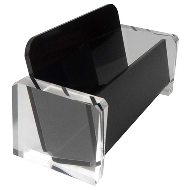 Acrylic Desktop Business Card Holder Display For Desk Elegant Business Card Stand For Office Black
