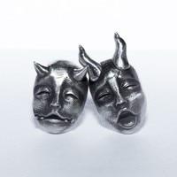Persönlichkeit Silber Überzogene Gothic Horned Dämon Baby Stud Ohrringe Teufel Prajna Schädel Ohrringe für Männer Frauen Biker Punk Schmuck