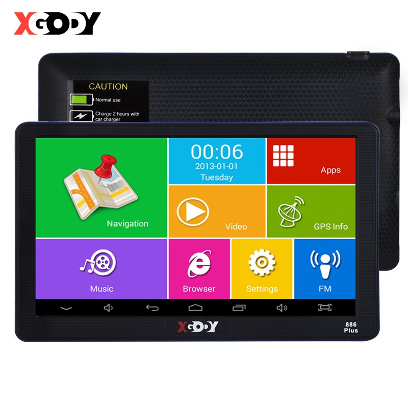 Xgody 7    886 Plus Car Gps Navigation Android 1G 16GB Truck Gps Navigator Touch Screen Sat Nav Antenna Free Map Spain European