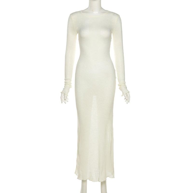 WJFZQM New Knitted Bodycon Dress Fairy Grunge Casual Fashion Streetwear Women Autumn Y2K Solid O-neck Long Sleeve Maxi Dresses 6