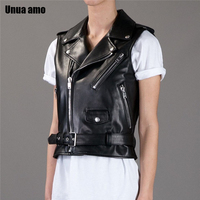 Unua amo Natural Sheepskin Coat Women Plus Size 4XL Moto Biker Zipper Jacket Genuine Leather Waistcoat Sleeveless Women's Vest