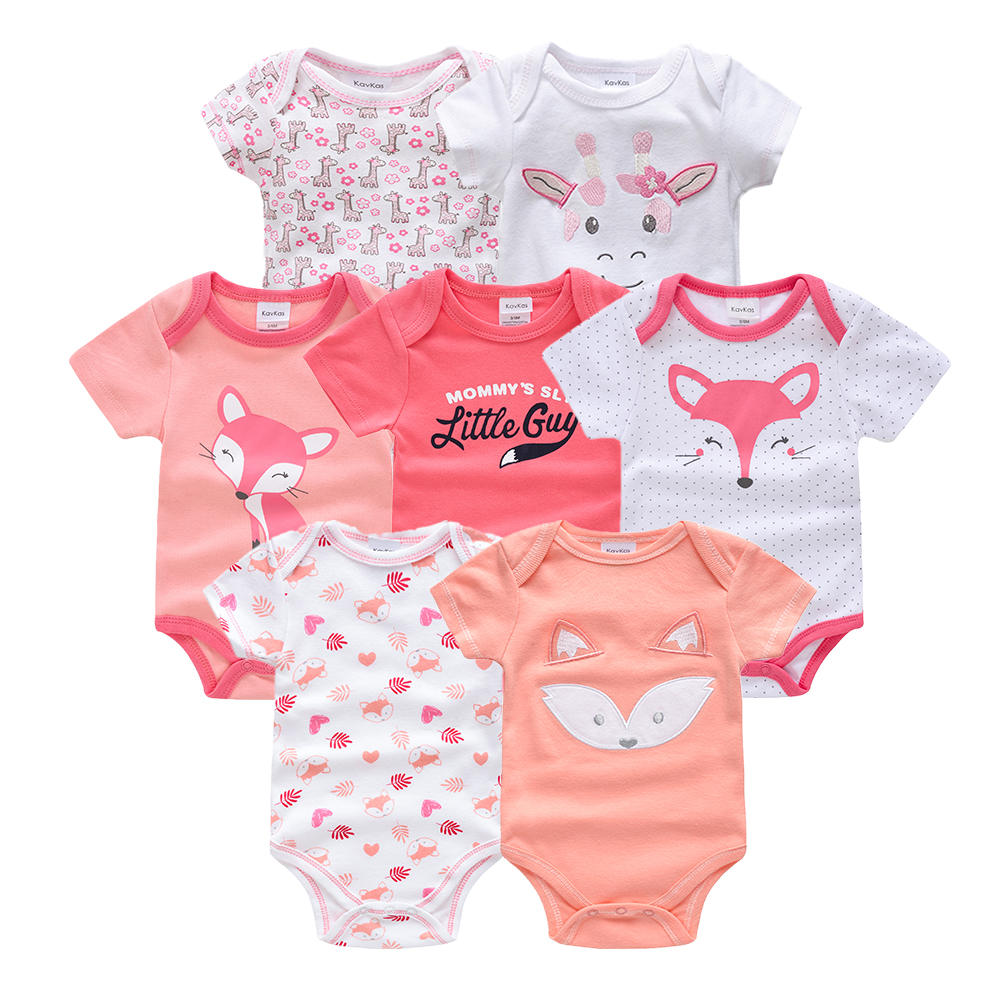 Honeyzone Summer Spring Body Baby Girl Bodysuit 100%Cotton Short Sleeve New Born Baby Girl Clothes 7pcs/set Body Bebe Jumpsuits