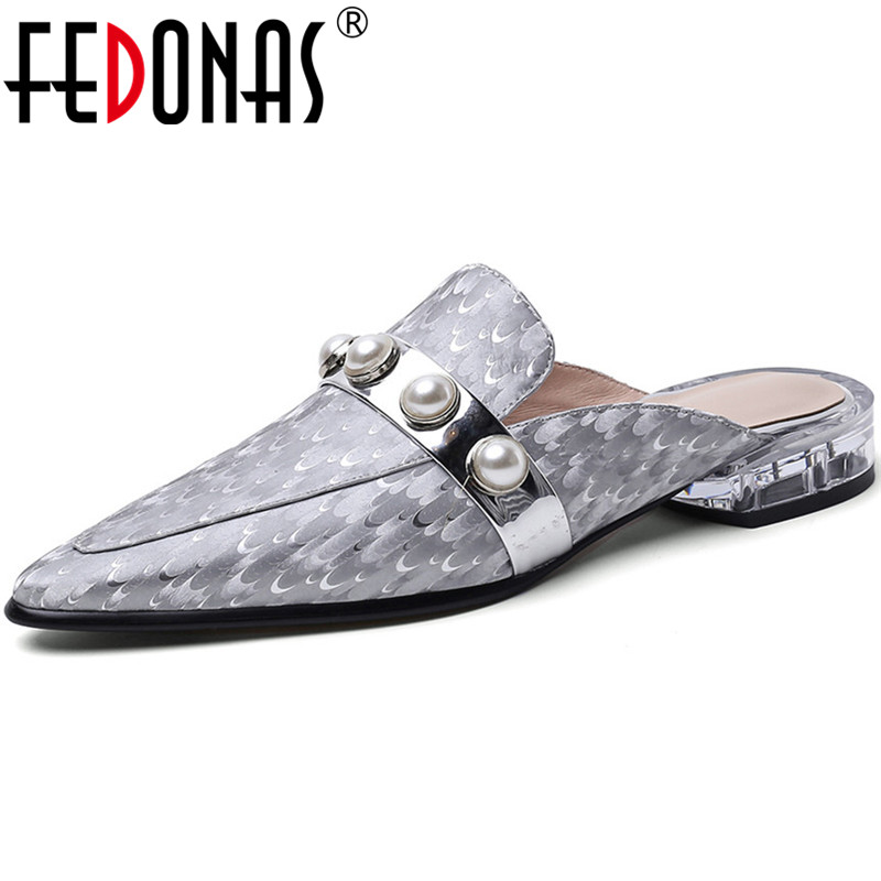 FEDONAS Classic Design 2020 Women Square Heeled Cow Leather Pointed Toe Pumps Metal Pearl Decoration Shoes Woman New Shoes Woman