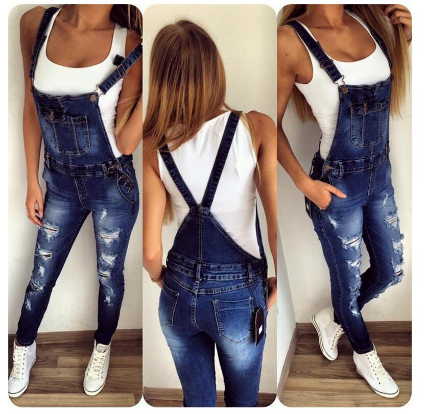 New Arrivals Long Denim Straps Wide-Legged Slacks Denim Jumpsuit Buckles Pockets Female Shredded Stretch Slim Jeans