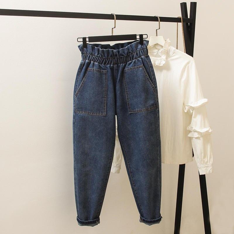 4XL Vintage High Waist Jeans Women Loose Denim Harem Pants Boyfriend Jeans For Women Stretch Pocket Large Size Mom Jeans Q2335