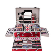Makeup Cases Suitcases Cosmetic Kit Eyeshadow Eyebrow Lipgloss Lipstick Foundation Concealer Makeup Brushes Practice Make Up Set