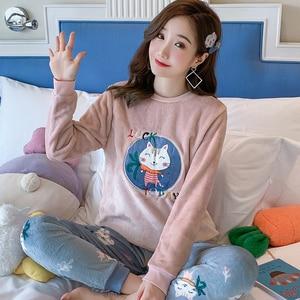 Image 4 - Coréen flanelle Pyjamas chauds pour les femmes à manches longues maison costume vêtements de nuit femmes dessin animé velours pyjama ensemble épais Feminino Pyjamas