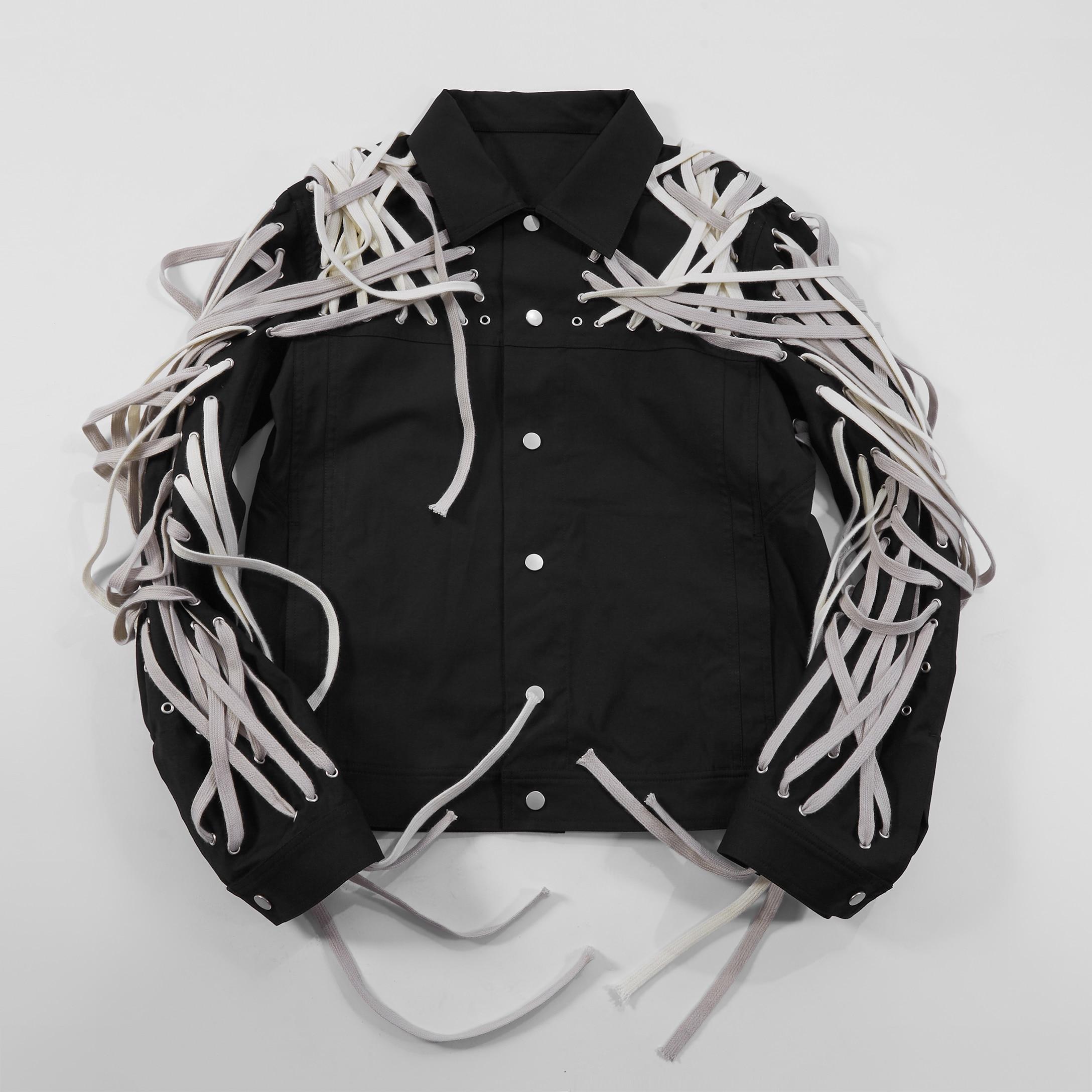 20ss Owen seak Men Cotton Jacket Gothic Style Men's Clothing Autumn Zipper Flying Jacket Men Solid Black Coat