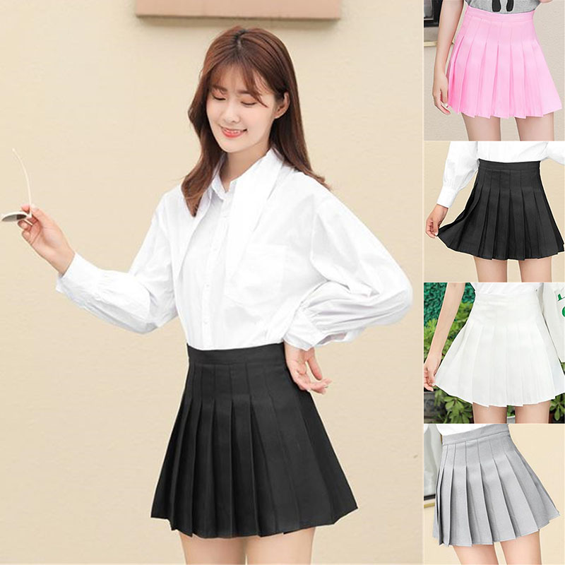 Women Fashion Mini A-line Skirt Girls Student Short Pleated Korean Slim Fit High Waist Preppy Style Solid Empire Skirts