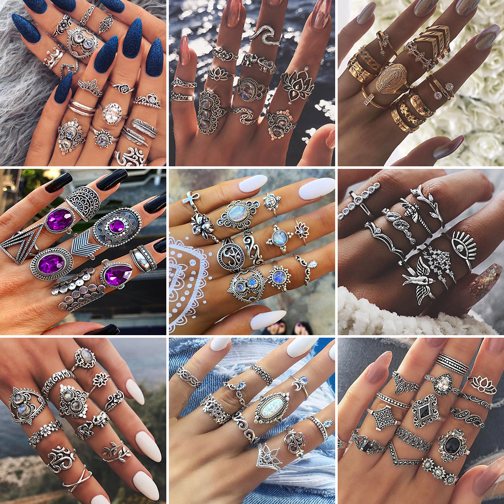 Vintage Purple Crystal Knuckle Rings for Women Bohemian Geometric Anel Finger Ring Set