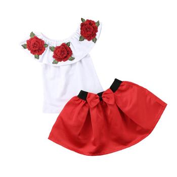 Pudcoco Clothes For Girl Kids Baby Girl Off Shoulder 3D Rose Flower Blouse Top Dress Skirt Outfit Clothes