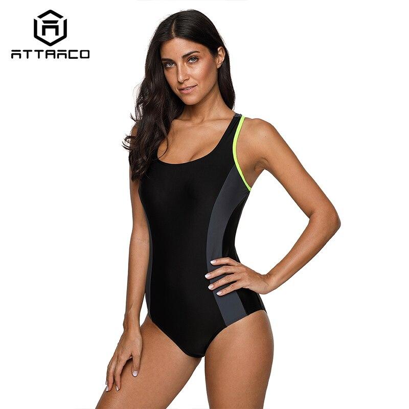 Attraco Women Sports Swimwear Sport Swimsuit One-Piece Colorblock Swimwear Open Back Beach Wear Bathing Suits Patch Work Fitness