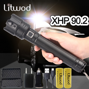 Image 1 - XHP90.2 Super Powerful Xlamp LED Flashlight LED Torch USB XHP70.2 Lamp Zoom Tactical Torch 18650 26650 Rechargeable Battey light