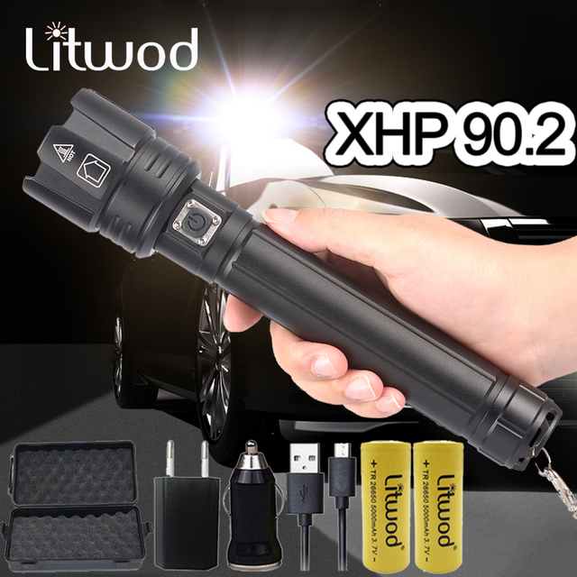 XHP90.2 Super Powerful Xlamp LED Flashlight LED Torch USB XHP70.2 Lamp Zoom Tactical Torch 18650 26650 Rechargeable Battey light