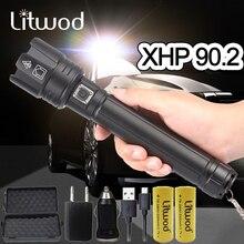 XHP90.2 süper güçlü Xlamp LED el feneri LED lamba USB XHP70.2 lamba Zoom taktik Torch 18650 26650 şarj edilebilir pil ışık