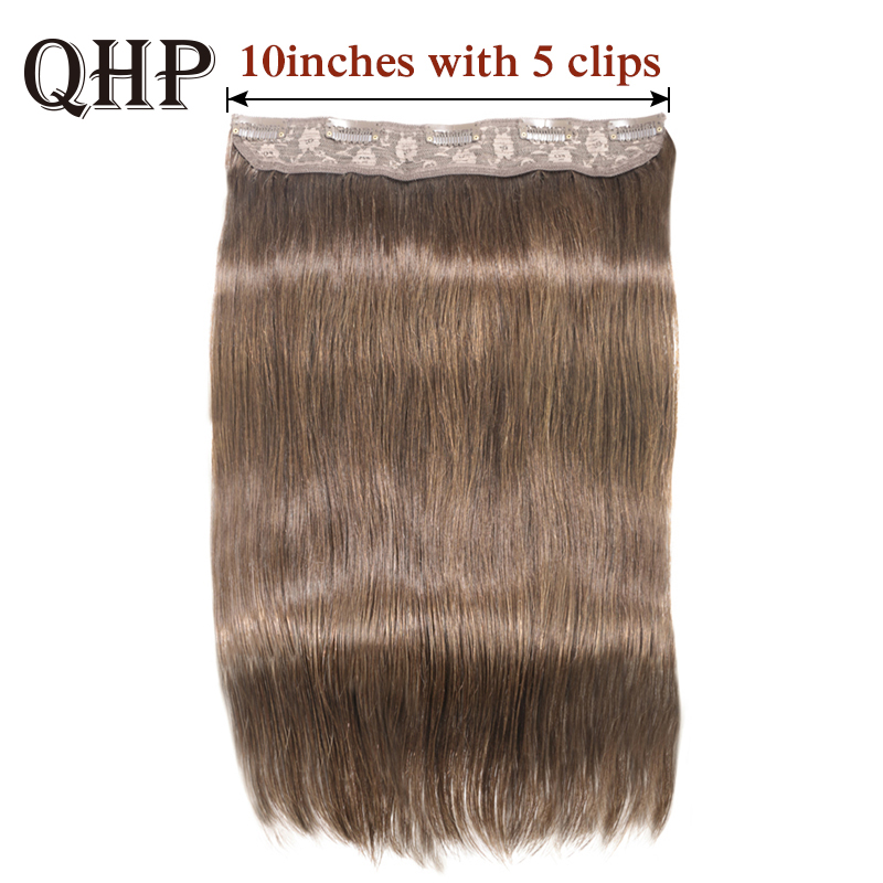 Hair Straight Clip In One Piece Human Hair Extensions  #1#1B #4 #8 #613 #27 #32 Brazilan Remy Hair 10Inche With 5 Clips