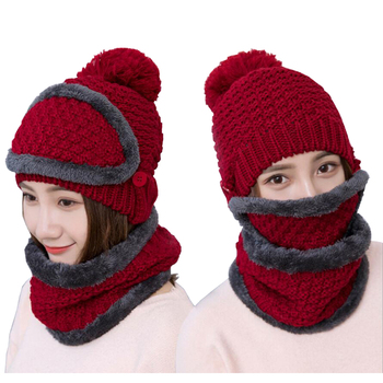 Winter Women's Hat Scarf Set Warm Beanies Hat Ring Scarf Solid Color Neck Mask Cap Pompoms Wool Winter Hat Outdoor Integrated wool hat w mask yellow grey