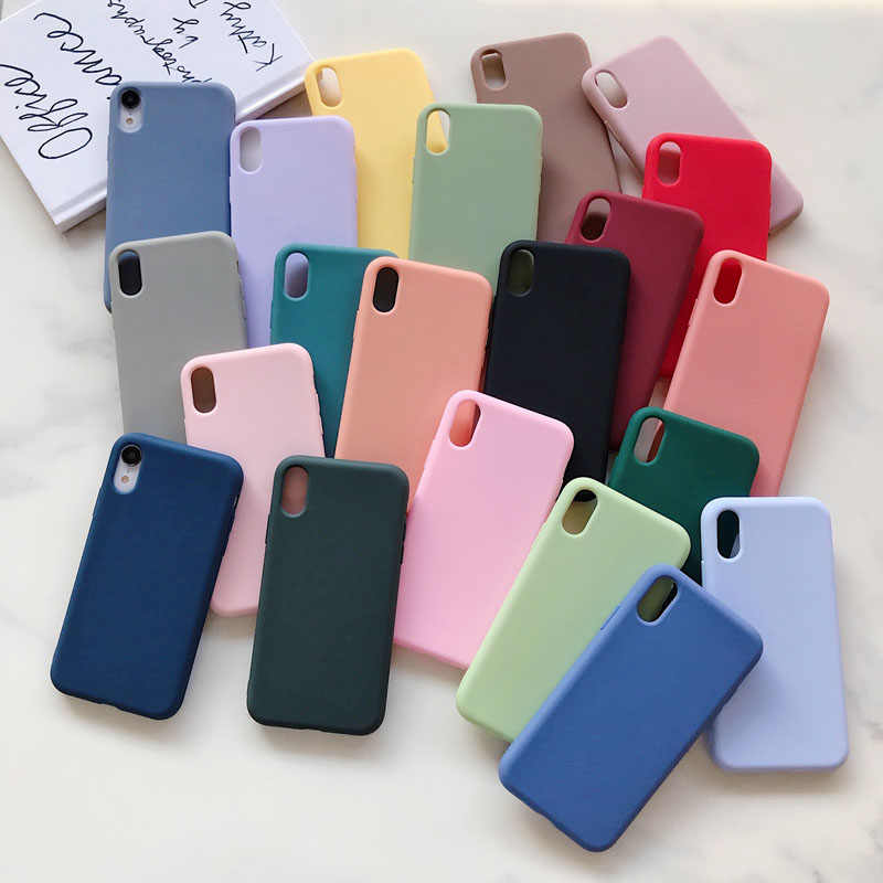 Fundas para iPhone 11 Pro X Xs Max XR 7 8 6 6s Plus lujo suave caramelo Color sólido Simple silicona contraportada regalos 21 estilo