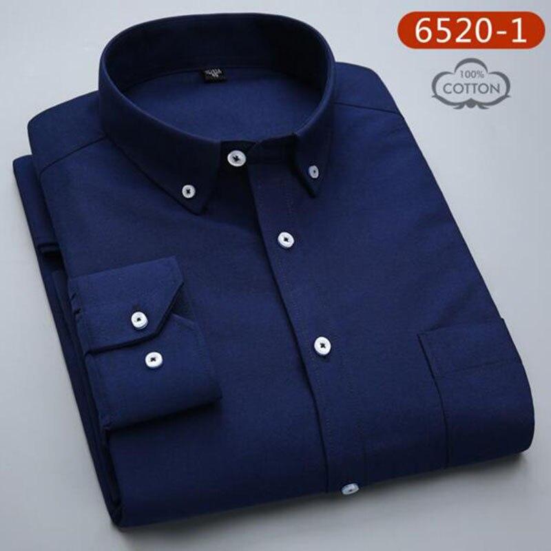 Hommes étudiants à manches longues mode bonbons couleur unie Oxford pur coton lavé Slim Fit chemises décontracté qualité grande taille - 6