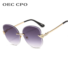OEC CPO Fashion Unique Rimless Butterfly Sunglasses Women High Quality Metal Oversized Sun Glasses Female UV400 Eyewear O227