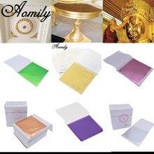 Aomily – feuille d'or K brillante multicolore, 9x9cm, 100 feuilles/ensemble, pour décoration de meuble en dorure, artisanat mural
