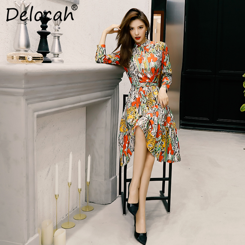 Delocah 2019 Autumn Winter New Women Dress Runway Fashion Designer Long Sleeve Simple Sashes Printed Elegant Slim Ladys Dresses Dresses Aliexpress