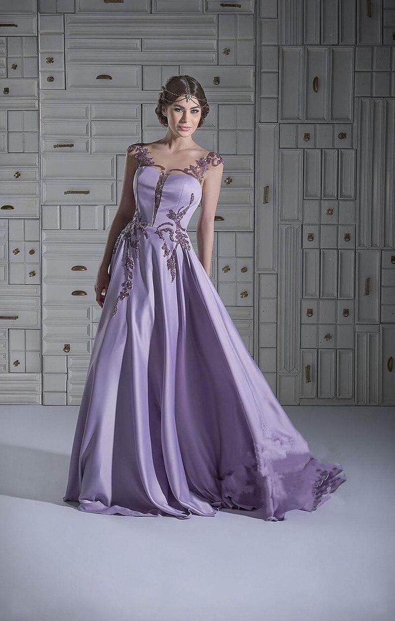 Vestido Longo Festa Purple Arabic A-Line Appliques Beaded Robe Soiree Formal Party Prom Gown Cheap Long 2018 Bridesmaid Dresses