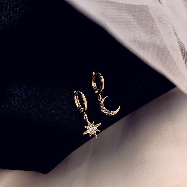 Zciti assimétrico estrela e lua brincos femininos geométrico brincos de ouro casamento 2020 diamantes para mulher 1