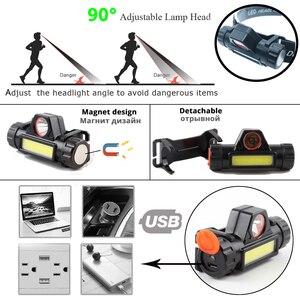 Водонепроницаемый светодиодный налобный фонарь COB рабочий свет 2 режима света с магнитной головкой встроенный аккумулятор 18650 подходит для рыбалки, кемпинга и т. д.