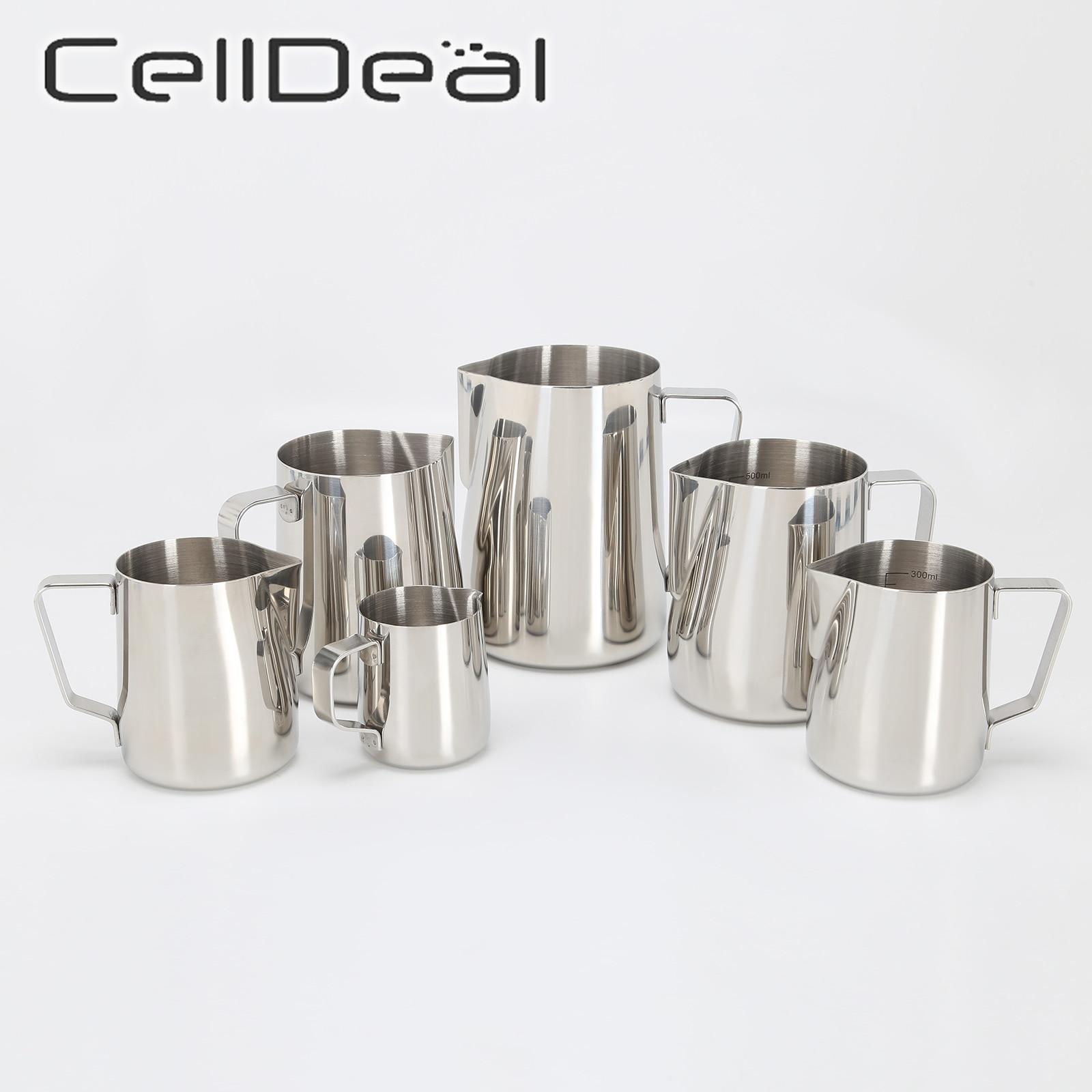 CellDeal paslanmaz çelik süt köpürtme sürahisi Espresso kahve Barista Latte Cappuccino süt kreması fincan Frothing sürahi sürahi